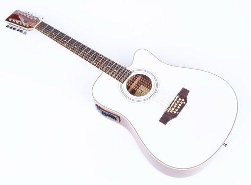 Cherrystone 4260180887204 12 saitige Western-Gitarre mit Tonabnehmer/EQ weiß