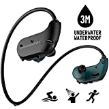 Waterproof MP3 Player, IPX8 Waterproof Headphones for Swimming, 8GB Memory Can Download 2000 Songs, Swimming Earbuds, Work for 6-8 Hours Underwater 3 Meters, with Shuffle Feature Black Waterproof mp3