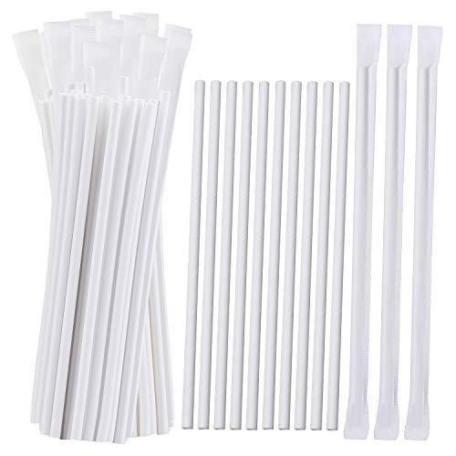 Cooraby 200 Stück einzeln verpackte Papierstrohhalme, weiße Papierstrohhalme, biologisch abbaubare Trinkhalme, farbstofffreie Papier-Trinkhalme, Dekorationen für Hochzeitsbedarf und Partygeschenke.
