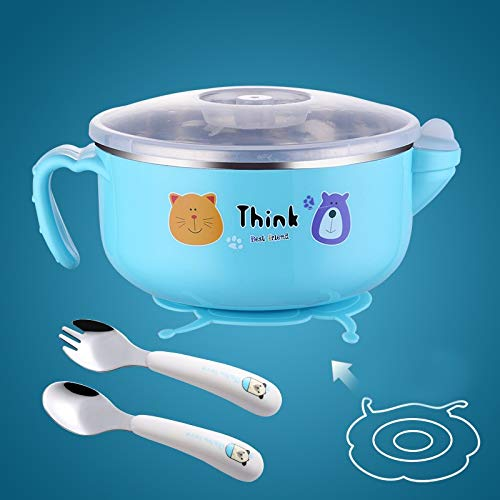 TITST Edelstahl Wassereinspritzung Isolierschale 400ml Saugnapfschale Doppelte Isolierung Geschirrset Cartoon Bowl 2 STÜCKEBlue Spoon Fork Bowl Set