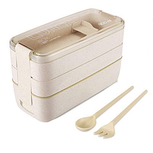 WOT I Lunchbox Bento Box Eco Brotdose für Kinder und Erwachsene 3-Compartment Auslaufsicher Mikrowelle aus Weizen Biologisch - Abbaubar Plastikfrei - BPA Frei - Weizen