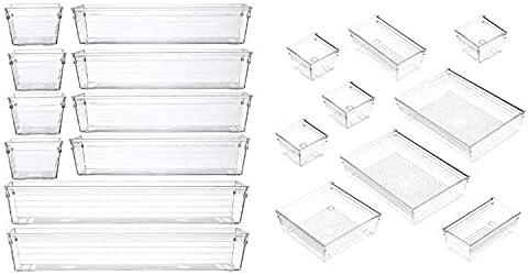 19 Piece Set Plastic Clear Desk Drawer Organizers Tray 6 Different Size Vanity Divider Organizers For Makeup Bathroom Kitchen Office Storage Bin Set