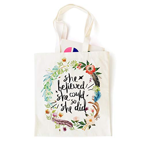 Ihopes Inspirational Quotes 12 Oz Reusable Tote Bag | Floral She Believe She Could So She Did 100% Cotton Tote Bag School Bag Book Lovers Gifts for Girls/Kids/Friends