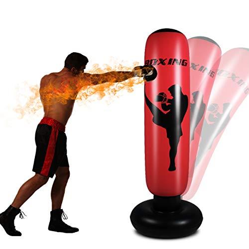 Standboxsäcke Boxsack Kinder , Aufblasbare Boxsäule Tumbler Kinder Üben von Karate, Taekwondo, Fitness Dekompression Sandsäcke Kick Kampftraining mit Luftpumpe Enthalten(160cm rot)