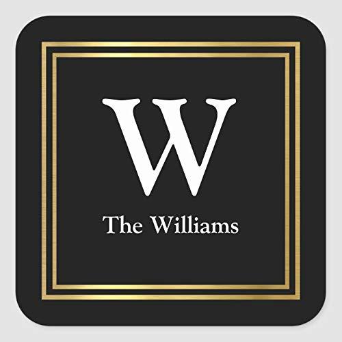Pegatinas de embalaje de boda, cuadrado de oro sintético con inicial familiar y nombre cuadrado, etiquetas personalizadas impermeables clásicas para sobres