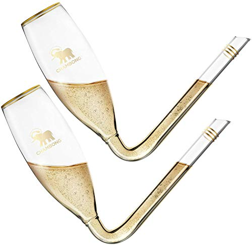 CHAMBONG – 6 oz Classic Size, 2 Pcs Glass with Gold Accents & Premium Gift Box – Large Champagne Shooter Glass Flute – Fun Party Favor, Bachelorette, Bridesmaids Gifts