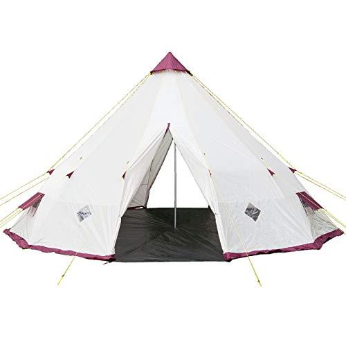Skandika Tippi 300 - Tente Tipi Indien - 12 personnes - Hauteur 3m Diamètre 5m50 - Beige/Bordeaux