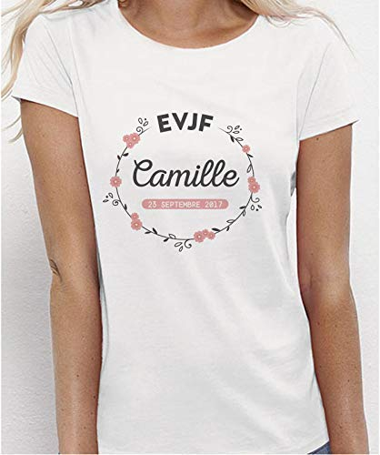 Tee Shirt EVJF personnalisé Couronne de fleurs avec son prénom et date - Imprimé en France - Future mariée et sa team pour un enterrement de vie de jeune fille