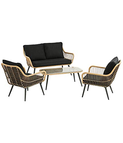 DehnerGartenmöbel Lounge Venezia, 4-teilig, inkl. Polster, Aluminium/Kunststoff/Glas, schwarz/Hellbraun