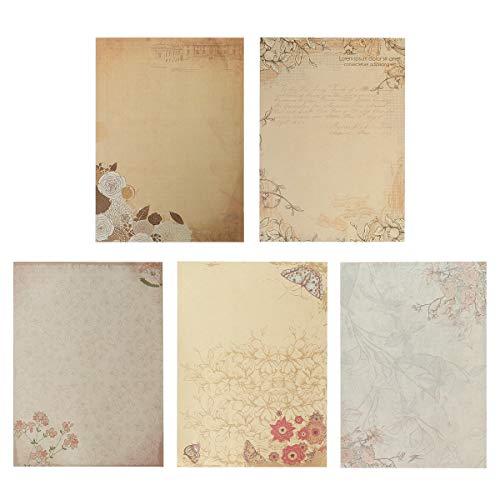 50 Hojas Papel de Carta Vintage Antiguo Escritura Escribir Papel Estilo Chino Papelería Vintage Papel