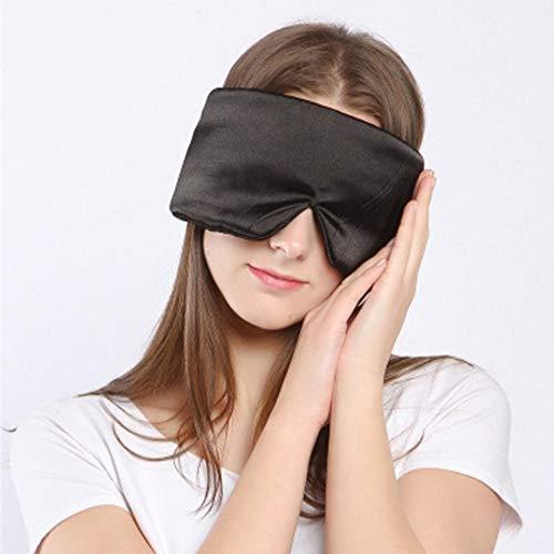 Slaap Masker voor Vrouwen Apneu Halo Nacht Slapen Zijde Slaap Masker Lichtgewicht Beste Grote Satijn Natuurlijke Camping Slaap Maskerset voor Volwassenen Mannen Meisjes Kids L Zwart