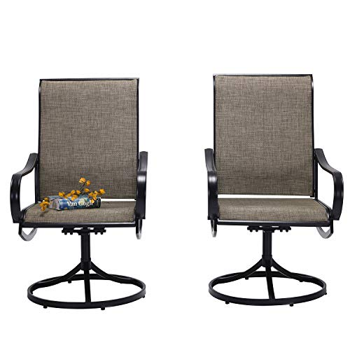Vicllax Patio Dining Swivel Chairs, Outdoor Garden Sling Chair Set of 2