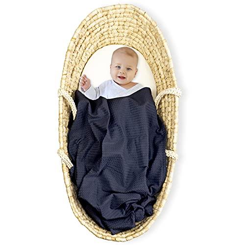 Manta de bebé de piqué de gofres de algodón 75x100 - Mantas de bebé de Verano de Cochecito para niñas y niños (Azul Oscuro, 75 x 100 cm - Algodón de Gofre)