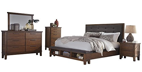 Lowest Prices! Ralene 5 PC Bedroom Set: Cal King Upholstered Storage Bed Dresser Mirror 1 Nightstand...