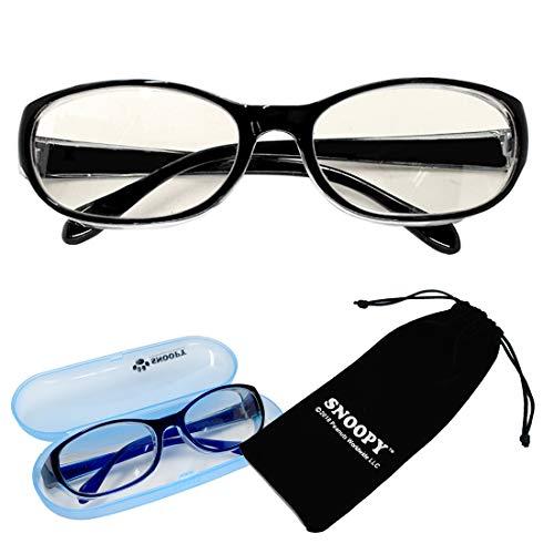 花粉 メガネ 子供用 スヌーピー 女性用 キッズ ブラック PCメガネ 小さめ ゴーグル 花粉対策 眼鏡 PC眼鏡 ブルーライト カット サングラス 眼鏡ケース付き [並行輸入品]