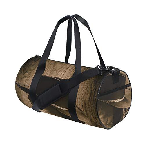 HARXISE Sombrero de vaquero con temática del salvaje oeste y vieja cuerda de rancho en exhibición de madera estilo de rodeo,Bolsa de deporte de lona ligera bolsa de gimnasio desmontable