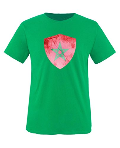 Comedy Shirts - Marokko Trikot - Wappen: Groß - Wunsch - Kinder T-Shirt - Grün/Rot Gr. 152-164