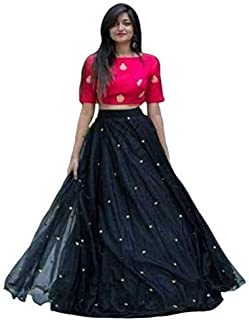 NENA FASHION Women's net Lehenga Choli (yami pinkblack_ Black_ X-Large)