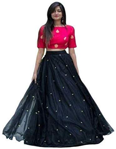 NENA FASHION Women's net Lehenga Choli (yami pinkblack_ Black_ X-Large)