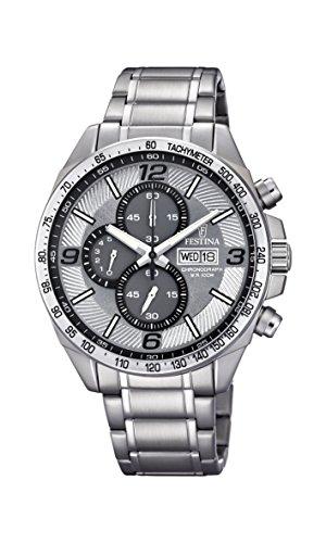 Festina Unisex Erwachsene Chronograph Quarz Uhr mit Edelstahl Armband F6861/2