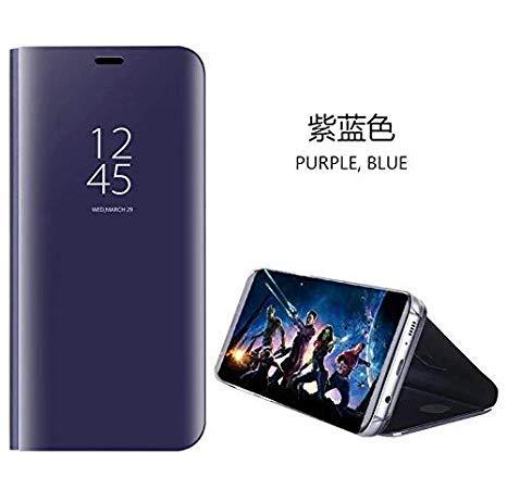 hyujia Compatible para Huawei Mate 20lite Carcasa 2018/Funda Inteligente Fecha/Hora Ver Espejo tirón del Caso Soporte Plegable/Duro Shell Teléfono Case Cover para Huawei Mate 20lite Púrpura