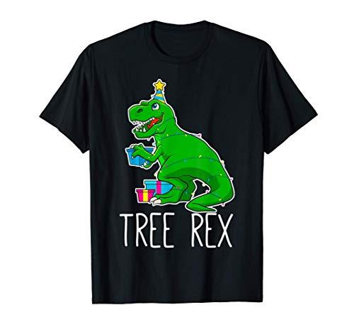 Árbol Rex Navidad Dinosaurio Divertido Jóvenes Niños Chicos Camiseta