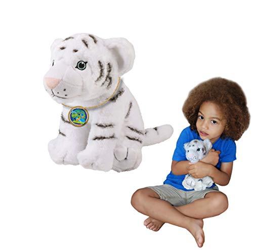 EcoBuddiez - Tigre Blanco de Deluxebase. Peluche Mediano de 20 cm elaborado con Botellas de plástico recicladas. Lindo Peluche ecológico con Forma de animalito para niños pequeños.