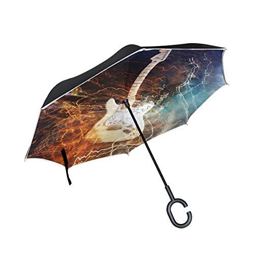AOTISO Paraguas invertido de la música de la Guitarra mágica, Paraguas Reversible Grande del Coche del Sol de la Lluvia al Aire Libre de Doble Capa