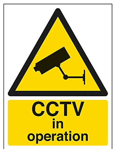 VSafety 63050AN-W'CCTV In Operation' Warning General Sign, Adesivo per finestra verticale, 150 mm x 200 mm, nero/giallo