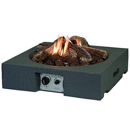 M A N I A Feuertisch für den Garten - Mobile Gas Feuerstelle ohne Rauch, Funken, Glut & Asche - Gaskamin Outdoor mit 12 kW in Betonoptik grau 61 x 61x 15 cm - Gasfeuerstelle Terrassenkamin Kaminfeuer