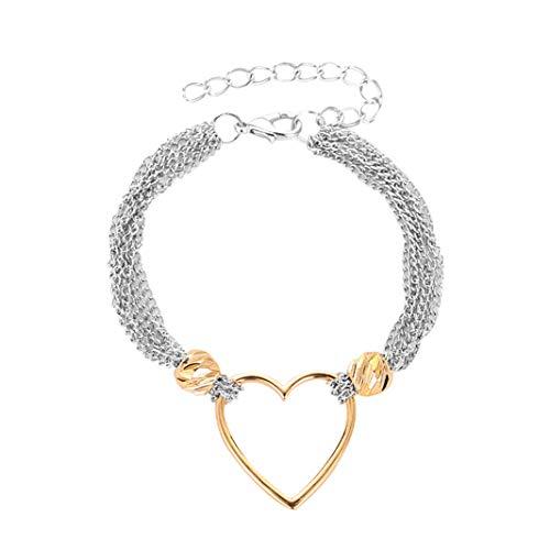 #N/A Pulsera de oro con forma de corazn hueco KC, ajustable, pulsera de cadena mltiple, cadena de mano, aniversario, regalo de cumpleaos para mujeres