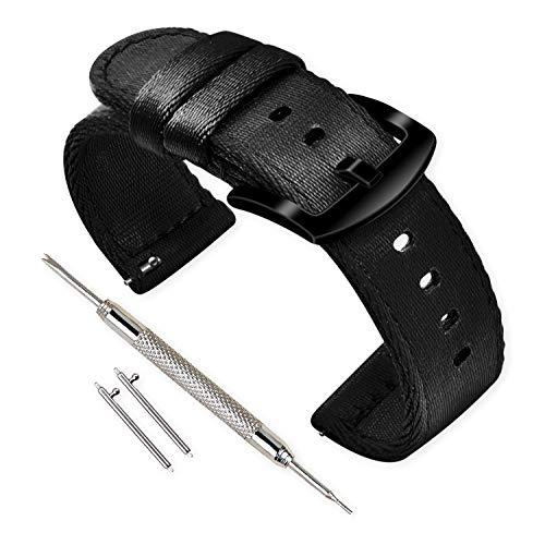 Vinband Correa Reloj Calidad Alta Nylon Correa Relojes - 18mm, 20mm, 22mm, 24mm Correa Reloj con Hebilla de Acero Inoxidable (20mm, Negro)
