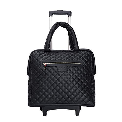 Reisetasche Reisetasche Trolley Handtasche Handgepäck Damen Mit Rädern Holiday lightweit Mode PU FENGMING (Farbe : SCHWARZ, größe : 40 * 22 * 45cm)