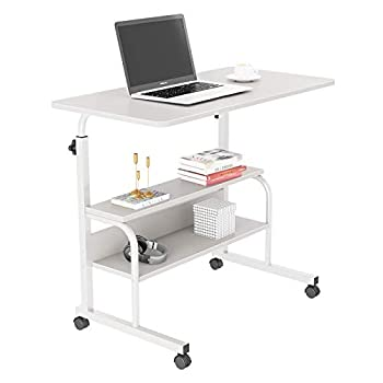 """Yoleo Overbed Table with Lockable Wheels - 31.5"""" Adjustable Desk with Storage for Laptop Eating Reading Rolling Beside Table for Home Bed Sofa White"""