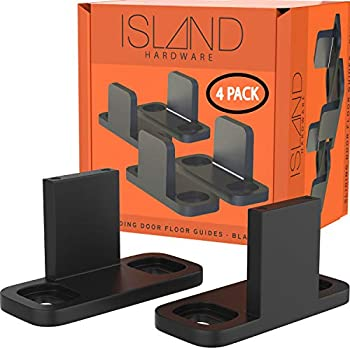 Sliding Barn Door Floor Guides - Black Closet Door Guides  4 Pack  by Island Hardware - Floor Mounted Bottom Track Guide for All Types of Sliding Doors Including Bypass and Pocket - Easy to Install