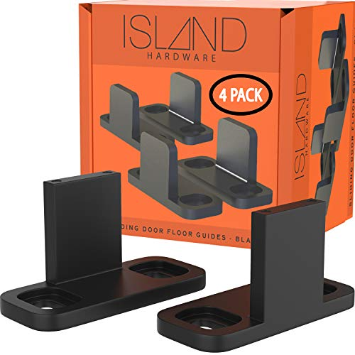 Sliding Barn Door Floor Guides - Black Closet Door Guides (4 Pack) by Island Hardware - Floor Mounted Bottom Track Guide for All Types of Sliding Doors Including Bypass and Pocket - Easy to Install
