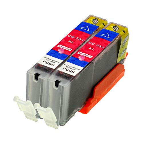 2 Logic-Seek® Druckerpatronen CLI551M MIT CHIP und Füllstandanzeige für Canon Pixma iP7250, MG5450, MG6350, MX725, MX925, kompatibel mit CLI-551M