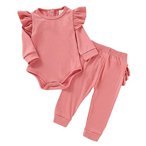Julhold Baby Jongens Meisjes Leuke Solid Ruffled Tops Broek Huiskleding Casual Katoen Slim Outfits Sets 0-24 Maanden