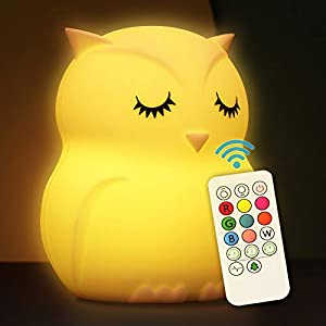 crib bedding and baby bedding cute night light for kids soft silicone baby nursery night light with remote control children bed room décor decoration teenage toddler boys girls birthday gift (owl)