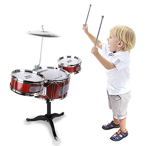 JAFATOY Small Plastic Drum Set Toy for Kids Age 3 - 6 Years Old Toy Musical Instruments Playing Rhythm Beat Toy Great Gift for Boys Girls