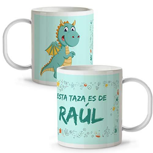 LolaPix Taza de Plástico Dragón Personalizada con Nombre. Niña Niño. Varios Diseños...