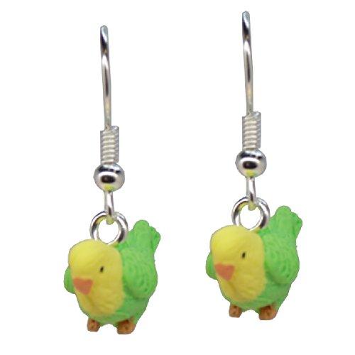 Handmade Miniature Green & Yellow Pet Budgie Budgerigar Bird Inspired Earrings - Gift Boxed