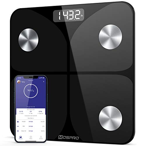MOSPRO Digital Bathroom Weight Scale - Smart Body Composition Scale with Smartphone App Sync & Auto Recognition for Weight, Body Water, BMI, Muscle Mass, Max 400lb