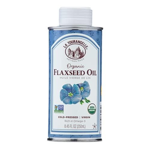 Best flaxseed oil - La Tourangelle, Organic Flaxseed Oil, Essential Omega-3 to Improve Heart Health - Vegan, Non-GMO, Gluten-Free, Vegan, Kosher, Cast Iron Seasoning, 8.45 fl oz