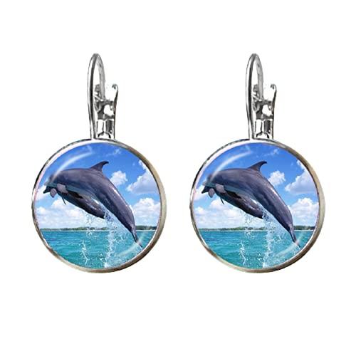 Hermoso patrón de delfín pendientes de moda redondo de cristal sirena 16mm cúpula de cristal chapado en plata hermoso Stud oído para niñas