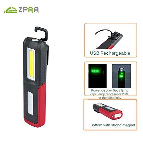 Lampe torche magnétique rechargeable par USB, blanc et noir