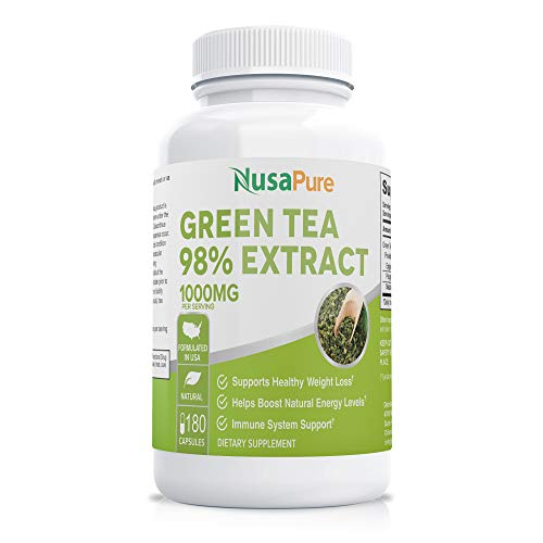 Green Tea Extract 98% 1000mg with EGCG 180 Capsules (Non-GMO & Gluten Free) Max Potency for Weight Loss & Metabolism Boost - Natural Caffeine for Gentle Energy