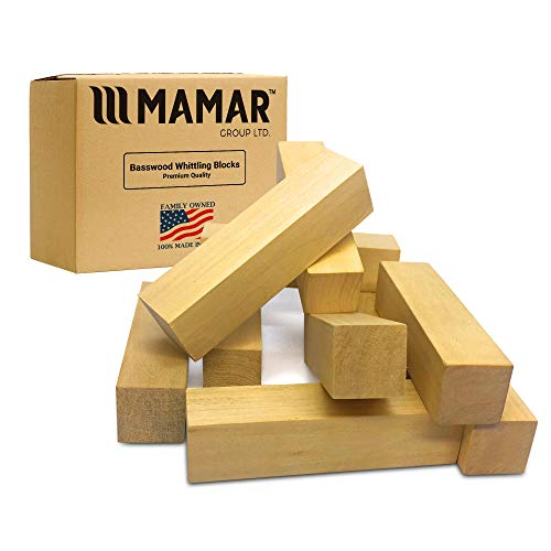 MAMAR Premium Natural Basswood Carving Blocks - 10 Large Pieces Unfinished Polished - Whittling Balsa Wood Block Tools Kit - 1 x 1 x 4 inches - Ideal for Beginners, Kids, Advanced, Hobby, DIY