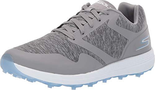 Skechers Women's Max Golf Shoe, Gray/Blue Heathered, 8 W US
