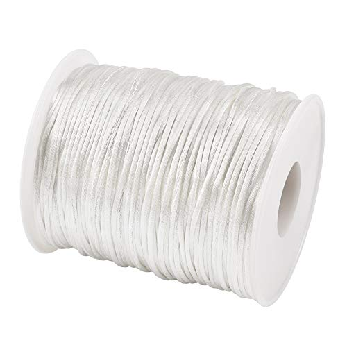 Pandahall Rattail Satin Cord 1mm White Polyester Trim Thread for Chinese Knot Kumihimo Macramé Scrapbooking Jewelry Making DIY Crafts Supplies 109yard